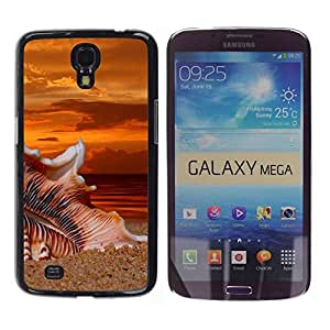 // PHONE CASE GIFT // Duro Estuche protector PC Cáscara Plástico Carcasa Funda Hard Protective Case for Samsung Galaxy Mega 6.3 / Beach Sunset Sand /