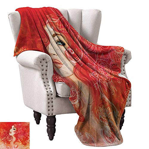 WinfreyDecor Girls Living Room/Bedroom Warm Blanket Woman Face with Floral Ornamentals in Hair Glamour Watercolor Modern Artwork Home, Couch, Outdoor, Travel Use 60