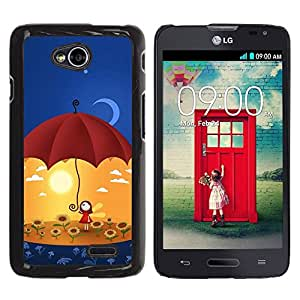LECELL -- Funda protectora / Cubierta / Piel For LG Optimus L70 / LS620 / D325 / MS323 -- Cute Umbrella Girl --