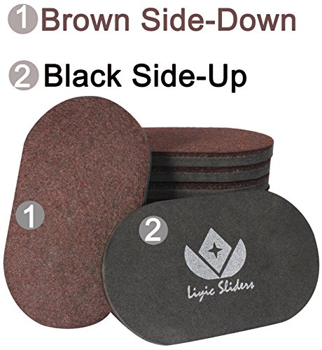 Liyic 12 Pack 6in. X 3.5in.Reusable Brown Oval Felt Furniture Sliders for Hard Surfaces.Premium Heavy Furniture Movers for Wooden Floor,Furniture Felt Slider Heavy Duty Felt Sliders Hard Floor Slider by Liyic (Image #2)