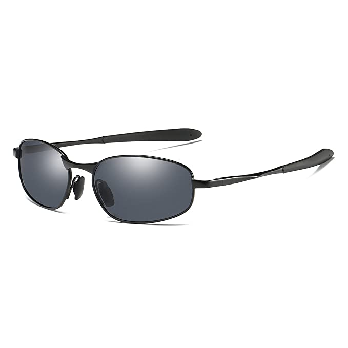 e2554fe8f0 Polarized Sunglasses Small Size Rectangular Wrap Metal Frame UV400  Protection (Black