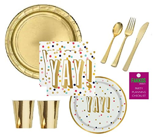 Gold Confetti Birthday Party Supplies Retirement Engagement Bridal Shower Graduation for 16 Guests Foil Plates Napkins Cups Premium Quality Cutlery