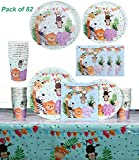 Jungle Safari Animals Themed Birthday Party Tableware Serves 20 Guests - Dinner Dessert Plates Napkins Cups Table Covers - Jungle Safari Party Supplies - Forest Zoo Animal Party Dinnerware Set