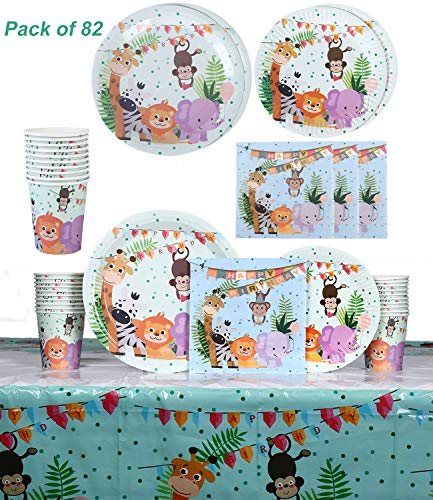 Animal Party Supplies (Jungle Safari Animals Themed Birthday Party Tableware Serves 20 Guests - Dinner Dessert Plates Napkins Cups Table Covers - Jungle Safari Party Supplies - Forest Zoo Animal Party Dinnerware)