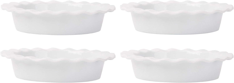 Home Essentials 15270 Fiddle and Fern Ruffle Mini Pie Plates, Set of 4, 5-inch Diameter, White