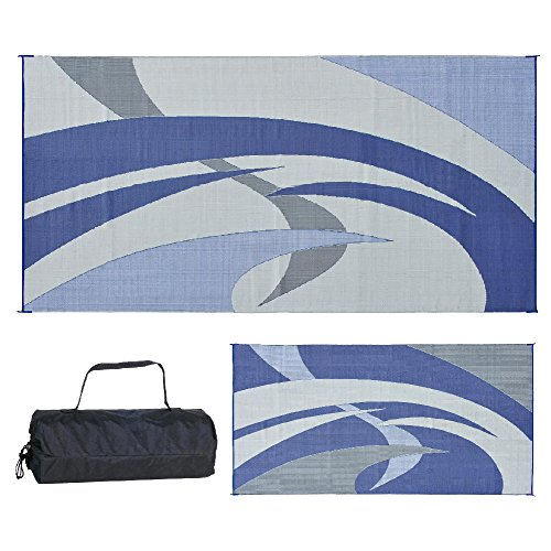 Reversible Mats 159183 Blue/Grey 9-Feet x 18-Feet RV Patio -