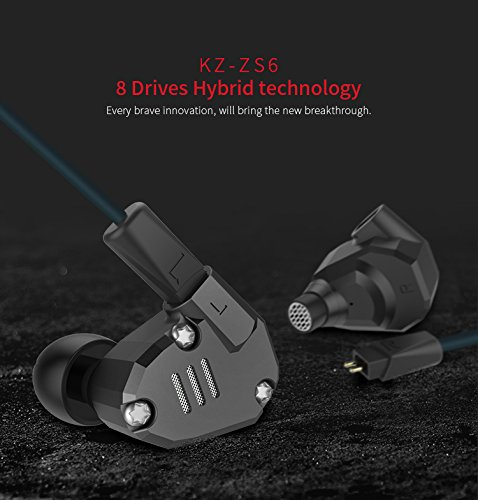 Leoie KZ ZS6 2DD 2BA 8 Hybrid Drivers HiFi Earphone in Ear Stereo Sport Bluetooth Headset Black with ()
