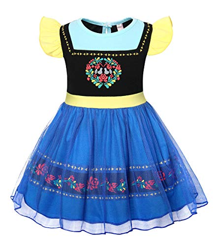 Cotrio Anna Coronation Dress Up Girls Princess Fantasy Dresses Toddler Nightgowns Sleepwear Halloween Themed Party Costumes Outfits 1-8 Years (6, 5-6Yrs, Blue)