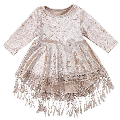 Toddler Baby Girl Vintage Princess Dress Kids Flower Girls Fall Clothes Skirt Silver Velvet Tassels Party Dresses (3-4 Years, Silver) -