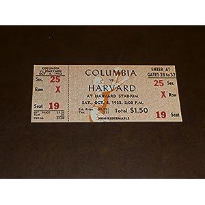 1952 COLUMBIA AT HARVARD COLLEGE FOOTBALL FULL TICKET NEAR MINT