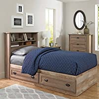 Better Homes and Gardens Lafayette Twin Bookcase Headboard, Washed Oak Finish
