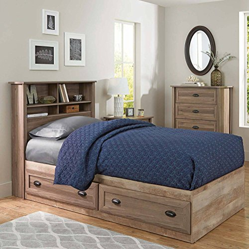 Better Homes and Gardens Lafayette Twin Bookcase Headboard, Washed Oak Finish (Homes Better And Garden Headboard)