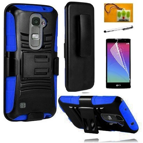 LG Escape 2 (AT&T) / LG Logos (US Cellular) / LG Spirit (Metro PCS), LF 4 in 1 Bundle, Hybrid Armor Stand Case with Holster and Locking Belt Clip, Stylus Pen, Screen Protector & Wiper Accessory (Holster Blue) (Phone Pcs Cases Metro Spirit Lg)