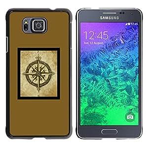 YOYOYO Smartphone Protección Defender Duro Negro Funda Imagen Diseño Carcasa Tapa Case Skin Cover Para Samsung GALAXY ALPHA G850 - cartel marco amarillo marrón brújula