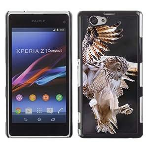 Búho Caza Vuelo Predator Naturaleza Animal- Metal de aluminio y de plástico duro Caja del teléfono - Negro - Sony Xperia Z1 Compact / Z1 Mini (Not Z1)