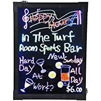 AGPtek 16x12 Flashing Illuminated Erasable Neon LED Message Writing Board Menu Sign (7 Colors of RGB 28 Flashing-Mode Remote Control, Metal Chain for Hanging up, Washable Eraser Cloth)