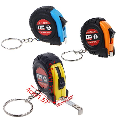 ForHe Retractable Ruler Tape Measure Mini Portable Pull Ruler Keychain 1m/3ft (Color ()