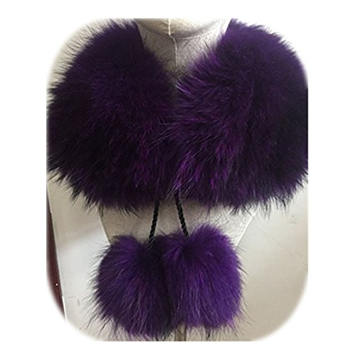 2018 New Fashion Women Raccoon Fur Collar Fox Fur Scarf Fur tie Fur Pom Pom (60cm, purple) ()