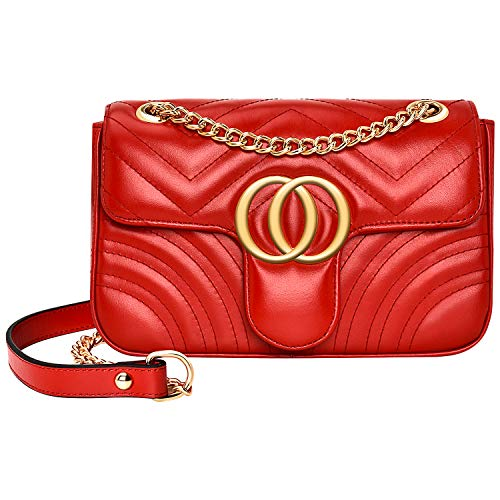 Women Genuine Leather Shoulder Bag Ladies Fashion Clutch Purses Quilted Crossbody Bags With Chain - Red