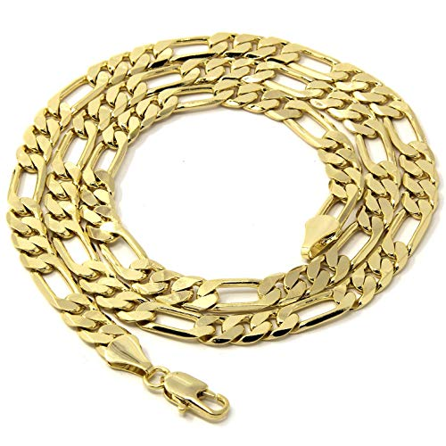 Jewel Town Mens 14kt Yellow Gold Plated Width 5 6 8 10mm Italian Figaro Link Chain Necklace