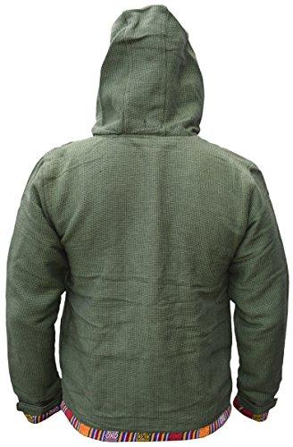 Vert Inverno Con giacca In Nepalese Cappuccio Etnica Cotone Uomo Zip Pile Rivestimento Little Stampa Kathmandu Ofal xqHffA
