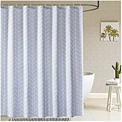 Kingmily Geometric Striped Fabric Shower Curtain, Chevron Lines, Grey White (72-by-72 inches, Design 3)