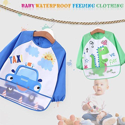 [2 pack] Baby bibs with pocket,Waterproof sleeved bib,100% polyester fiber Bibs for Teething Feeding Baby_CLRST5q by AaBbDd (Image #3)