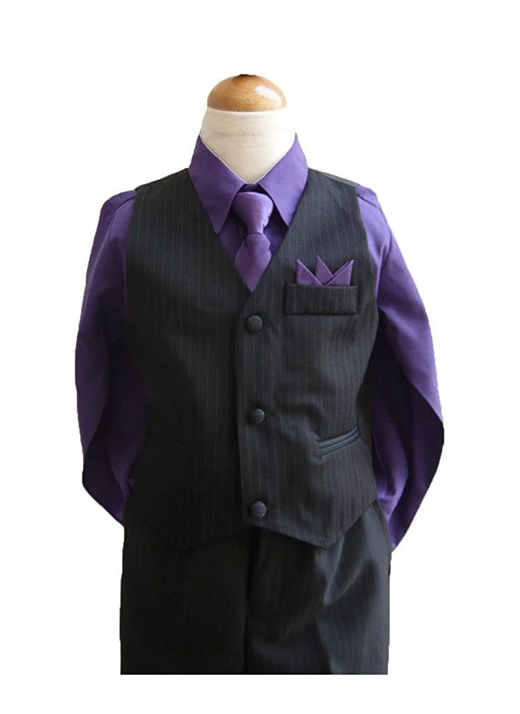 Classykidzshop Black Purple Boy Vest Set (Size 12)