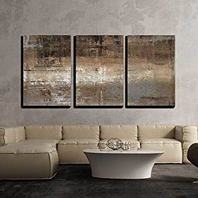 Abstract Grey and Brown Painting x3 Panels