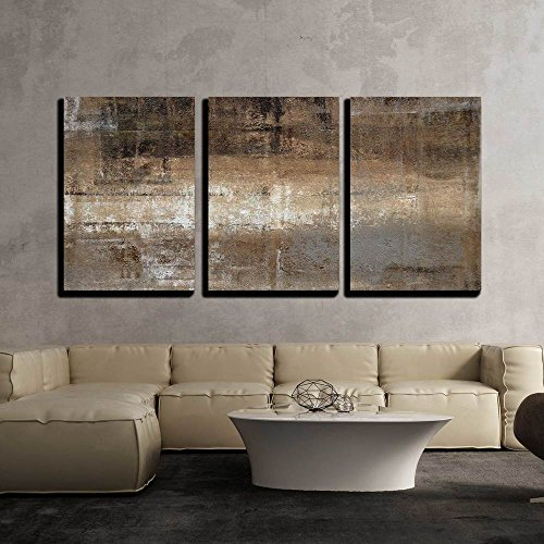 wall26 - 3 Piece Canvas Wall Art - Grey and Brown Abstract Art Painting - Modern Home Decor Stretched and Framed Ready to Hang - 24