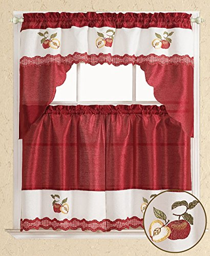 All American Collection Modern Embroidered 3pc Kitchen Curtain Set (Swag Valance, Red Apples)
