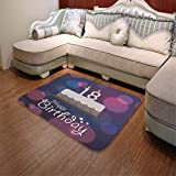 YOLIYANA Polyester Carpet,18th Birthday Decoration,for Meeting Room Dining Room,55.12'' x78.74'',Cartoon Birthday Party Cake with Candles