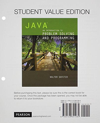 Java: An Introduction to Problem Solving and Programming, Student Value Edition plus MyProgramming Lab with Pearson eText -- Access Card Package (7th Edition) by Pearson