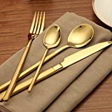 Elome Flatware Set, Stainless Steel Cutlery set, Vintage Design Cutlery for Home Kitchen Restaurant Hotel Mirror Gold in Gift Box