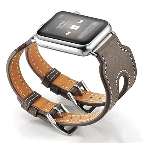 Valkit Compatible Watch Bands 38mm Genuine Leather Strap Smart Watch Wristband with Stainless Steel Adapter Replacement for Watch 3 2 1, Double Buckle Cuff - -