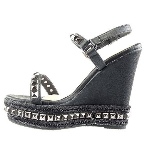 Angkorly Women's Fashion Shoes Sandals Mules - Platform - Studded - Braided - Thong Wedge Platform 13.5 cm Black