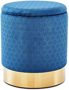 Wimarsbon Blue Round Storage Ottoman
