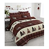 MA Online Luxurious Stag Reindeer Print Duvet Cover Set Fancy Thermal Flannelette�Quilt Pillow Case Bedding Set Brown Double