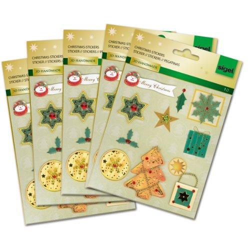 Sigel CS301 Christmas Stickers 3D Handmade, Christmas Time, 11 sticker (Scrapbooking 3d Handmade Stickers)