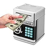Toys : Zonkin Cartoon Electronic ATM Password Piggy Bank Cash Coin Can Auto Scroll Paper Money Saving Box Gift For Kids (silvery)