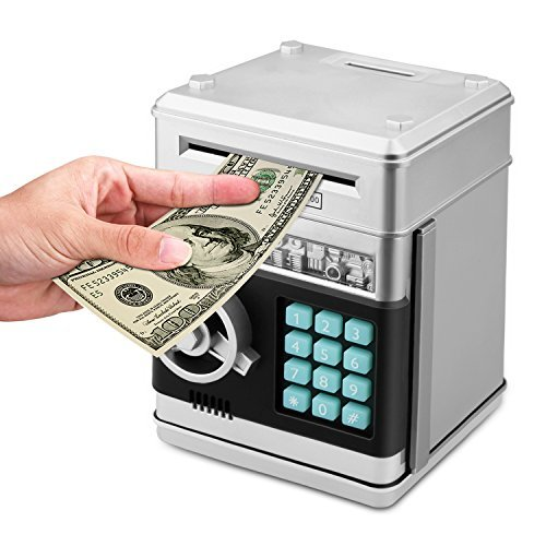 Zonkin Cartoon Electronic Atm Password Piggy Bank Cash Coin Can Auto Scroll Paper Money Saving Box Gift For Kids  Silvery