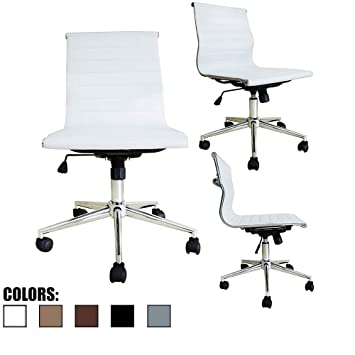 Fine 2Xhome White Modern Contemporary Executive Office Chair Mid Back Pu Leather Arm Rest Tilt Adjustable Height With Wheels Without No Arms Lumbar Support Forskolin Free Trial Chair Design Images Forskolin Free Trialorg