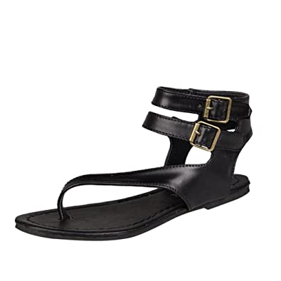 a25ec93c56265b Momola Side Buckle Strap Design Rome Strappy Gladiator Low Women s Flat  Flip Flops Beach Sandals Summer