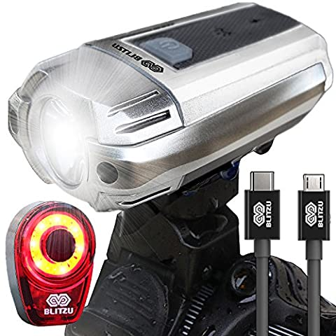 BLITZU Gator 390 USB Rechargeable LED Bike Light Set, Bicycle Headlight Front & FREE Rear Back Tail Light. Waterproof, Easy To Install for Kids Men Women Road Cycling Safety Commuter Flashlight (Bike Back Light Usb)