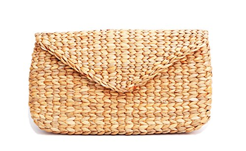 Mini Vintage Handmade Knit Bamboo Rattan Straw Clutch Bag / Handbag