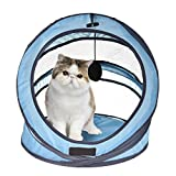 Foldable Pet Cat Nest Breathable Lightweight Spiral Type Kittens Playing Nest With Interactive Ball Blue
