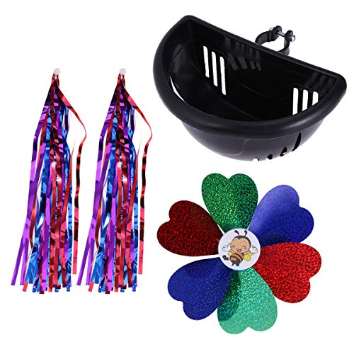 BESPORTBLE Kids' Bikes Accessories Set Kit Bicycle Cycling Scooter Handlebar Streamers Grips Ribbon Tassels+Flower Pinwheel Windmill+Bike Basket