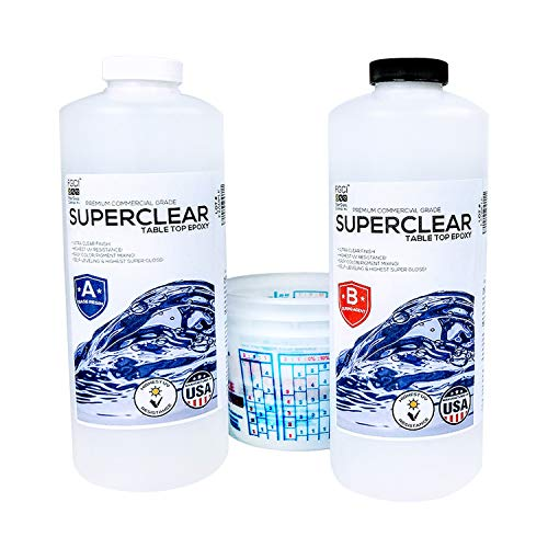 SUPER CLEAR Coat Epoxy Resin Kit, 2 Quart Kit, Ultra Clear Liquid Glass 2 Part Self Leveling Epoxy Resin, Epoxy Resin Table DIY, Floor Kit, Includes Epoxy Resin 1 Quart & Hardener 1 Quart & 3 1qt Cups