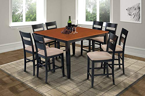 Feast Meal Desk Talking Station Set of 9 Pcs Balck Body Cherry Top Bar Solid Wood With 8 Padded Filled Quilted Cushion Seat Backrest Chair Simply Elegant Counter Height Dining Set 9 Piece Alcott Hill ()