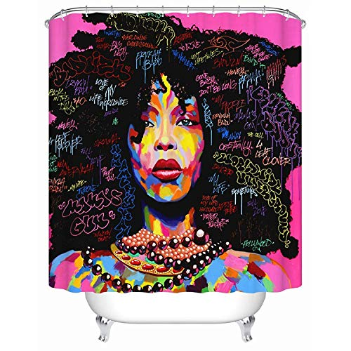 Afri-can Ameri-can Shower Curtain Explosion Head Woman Graffiti Art Shower Curtain Bathroom Decoration 60x72 inches